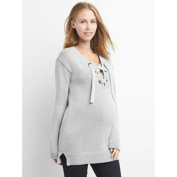 44041687a5d41 GAP Sweaters | Maternity Grey Laceup Stretch Sweater Lg | Poshmark